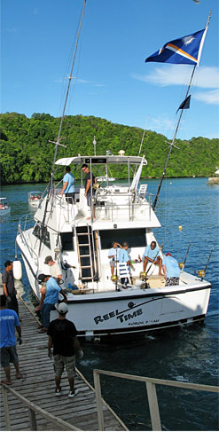 Boat chartered for the derby by the Marshall's team